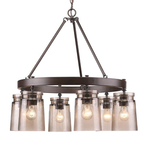 Golden - 1405-6 RBZ-AG - Six Light Chandelier - Travers - Rubbed Bronze