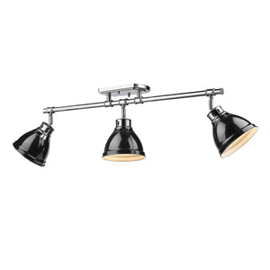 Golden - 3602-3SF CH-BK - Three Light Semi-Flush - Track Light - Duncan CH - Chrome