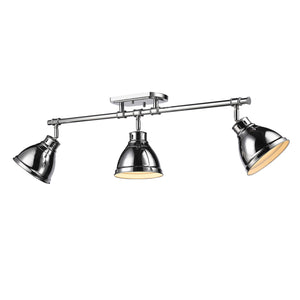 Golden - 3602-3SF CH-CH - Three Light Semi-Flush - Track Light - Duncan CH - Chrome