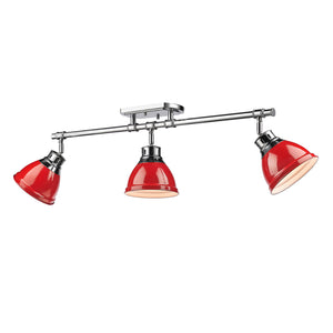 Golden - 3602-3SF CH-RD - Three Light Semi-Flush - Track Light - Duncan CH - Chrome
