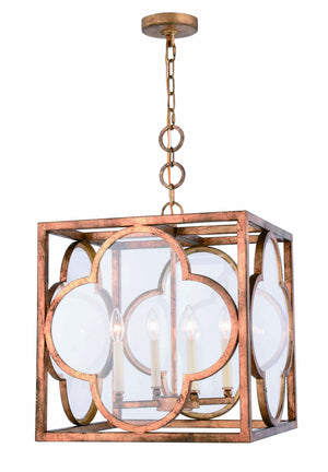 Elegant Lighting - 1526D18GICG - Four Light Pendant - Trinity - Golden Iron