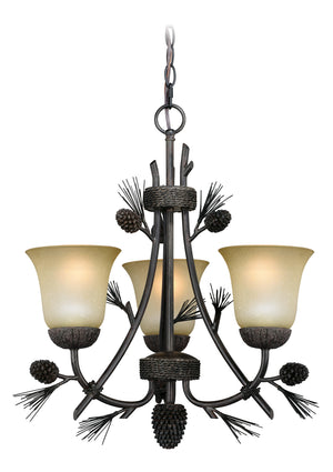 Vaxcel - H0172 - Three Light Chandelier - Sierra - Black Walnut