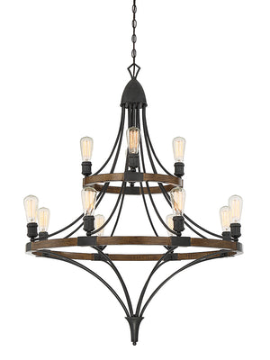 Savoy House - 1-9112-12-68 - 12 Light Chandelier - Turing - Whiskey Wood
