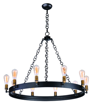 Maxim - 26275BKNAB/BUI - Ten Light Chandelier - Noble - Black / Natural Aged Brass