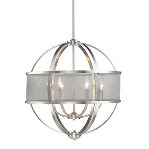 Golden - 3167-6 PW-PW - Six Light Chandelier - Colson PW - Pewter