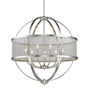 Golden - 3167-9 PW-PW - Nine Light Chandelier - Colson PW - Pewter