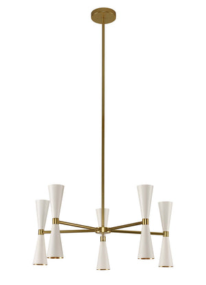 Kalco - 310470WVB - LED Chandelier - Milo - White and Vintage Brass