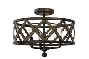 Kalco - 504841BS - Three Light Semi Flush Mount - Whittaker - Brownstone