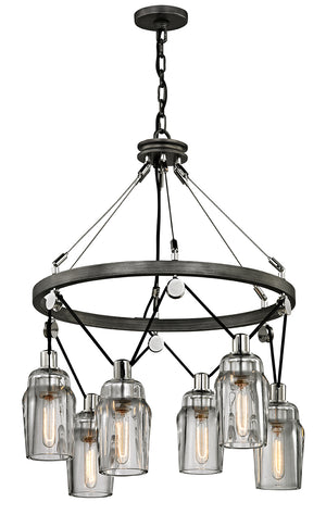 Troy Lighting - F5996 - Six Light Pendant - Citizen - Graphite And Polished Nickel