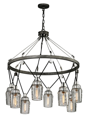 Troy Lighting - F5998 - Eight Light Pendant - Citizen - Graphite And Polished Nickel