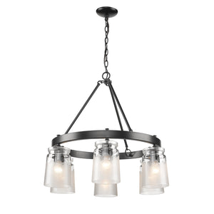 Golden - 1405-6 BLK-CAG - Six Light Chandelier - Travers BLK - Black