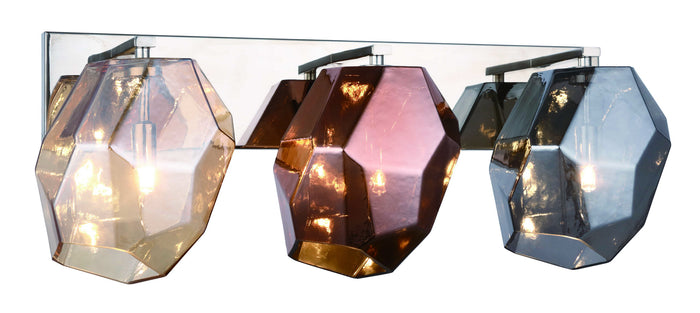 "Elegant Lighting Three Light Wall Sconce 24.00"" Polished Nickel And Golden Teak & Silver Shade & Copper Glass Shade"