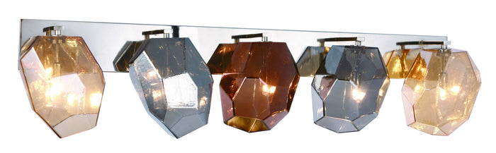 "Elegant Lighting Five Light Wall Sconce 42.00"" Polished Nickel And Golden Teak & Silver Shade & Copper Glass Shade"