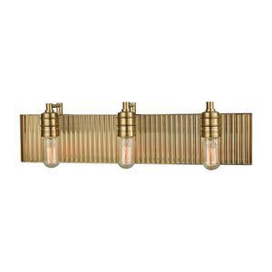 Elk Lighting - 15942/3 - Three Light Vanity - Corrugated Steel - Satin Black