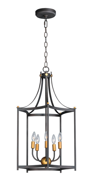 Maxim - 13597OIAB - Five Light Pendant - Wellington - Oil Rubbed Bronze / Antique Brass