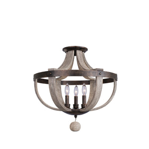 Kalco - 506840FG - Three Light Semi Flush Mount - Harper - Florence Gold