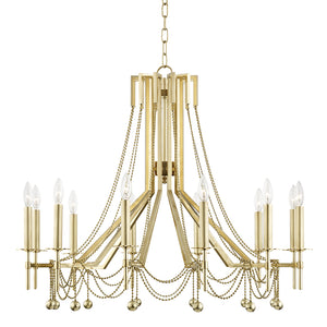 Hudson Valley - 5236-AGB - 12 Light Chandelier - Zariah - Aged Brass