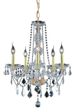 Elegant Lighting - V7855D21G/SS - Five Light Chandelier - Verona - Gold