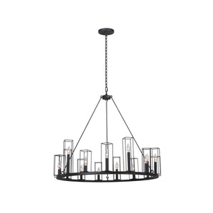 Kalco - 507771BI - 15 Light Chandelier - Allston - Black Iron