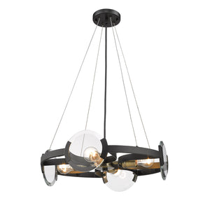 Golden - 2635-4 BLK-AB - Four Light Chandelier - Amari BLK - Black