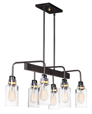 Maxim - 30177CLBZGLD - Six Light Linear Pendant - Magnolia - Bronze / Gold