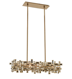 Allegri - 11198-038-FR001 - Six Light Island Pendant - Vermeer - Brushed Champagne Gold