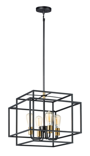 Maxim - 10247BKSBR - Four Light Pendant - Liner - Black / Satin Brass