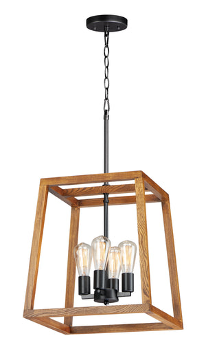 Maxim - 10306BKASB - Four Light Chandelier - Black Forest - Black / Ashbury