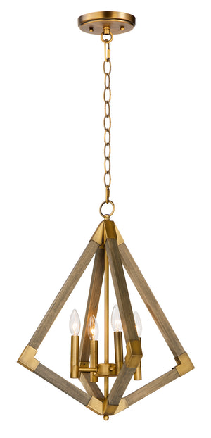 Maxim - 12252WOAB - Four Light Pendant - Vector - Weathered Oak / Antique Brass