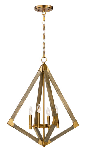 Maxim - 12254WOAB - Four Light Pendant - Vector - Weathered Oak / Antique Brass