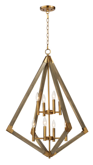 Maxim - 12256WOAB - Eight Light Pendant - Vector - Weathered Oak / Antique Brass