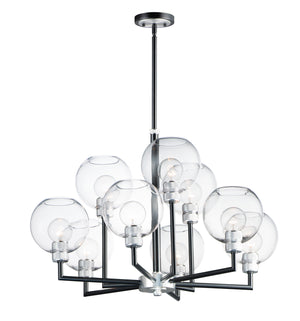 Maxim - 21616CLBKAL - Nine Light Chandelier - Vessel - Black / Brushed Aluminum