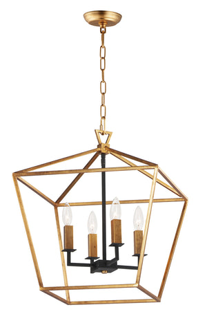 Maxim - 25156GLTXB - Four Light Chandelier - Abode - Gold Leaf / Textured Black