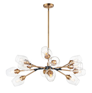 Maxim - 26347CLABBK - 12 Light Chandelier - Savvy - Antique Brass / Black