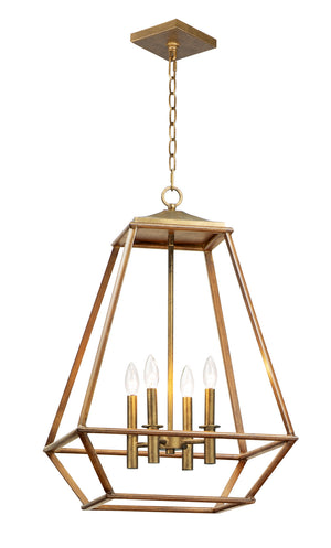 Maxim - 39543HZBRG - Four Light Pendant - Woodland - Hazel / Burnished Gold