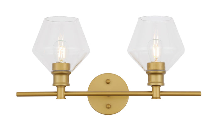 "Elegant Lighting Two Light Wall Sconce 19.10"" Brass And Clear Glass"