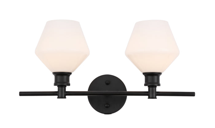"Elegant Lighting Two Light Wall Sconce 19.10"" Black And Frosted White Glass"