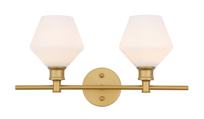"Elegant Lighting Two Light Wall Sconce 19.10"" Brass And Frosted White Glass"