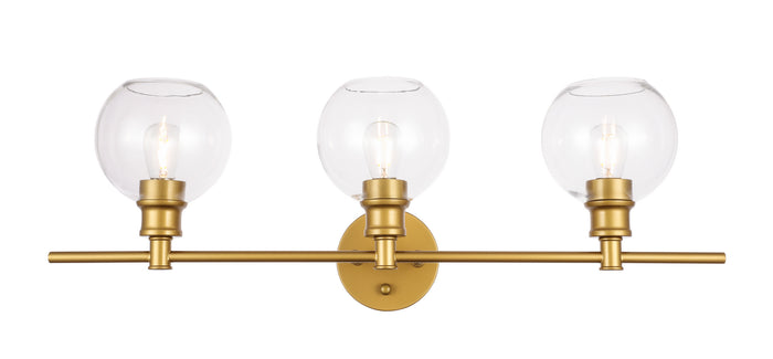 "Elegant Lighting Three Light Wall Sconce 28.10"" Brass And Clear Glass"