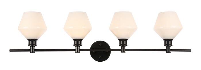"Elegant Lighting Four Light Wall Sconce 37.60"" Black And Frosted White Glass"