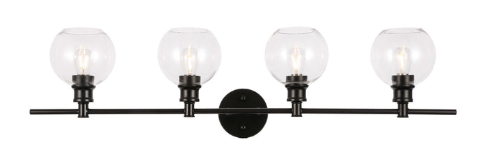 "Elegant Lighting Four Light Wall Sconce 37.60"" Black And Clear Glass"