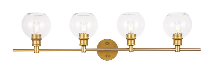 "Elegant Lighting Four Light Wall Sconce 37.60"" Brass And Clear Glass"
