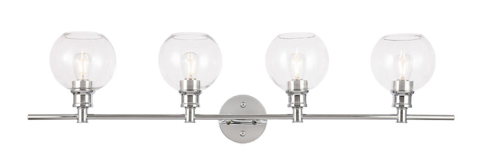 "Elegant Lighting Four Light Wall Sconce 37.60"" Chrome And Clear Glass"