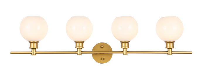 "Elegant Lighting Four Light Wall Sconce 37.60"" Brass And Frosted White Glass"