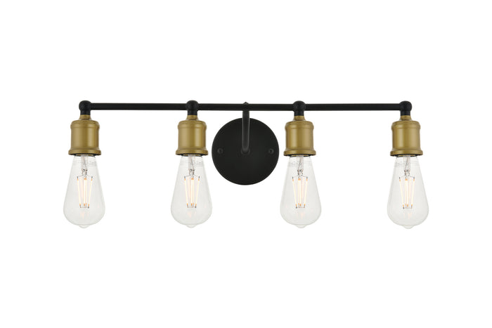 "Elegant Lighting Four Light Wall Sconce 22.10"" Brass And Black"