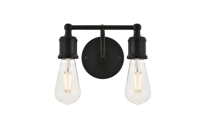"Elegant Lighting Two Light Wall Sconce 8.70"" Black"