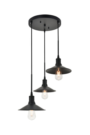 Elegant Lighting - LD4033D20BK - Three Light Pendant - Etude - Black