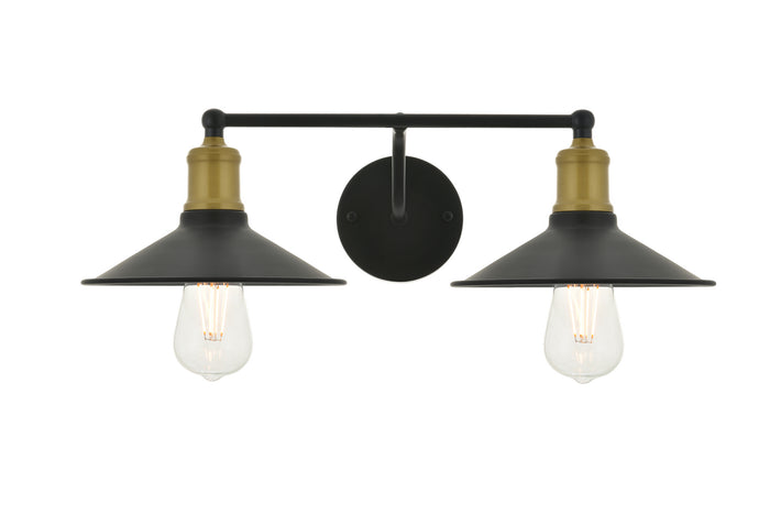 "Elegant Lighting Two Light Wall Sconce 20.90"" Brass And Black"