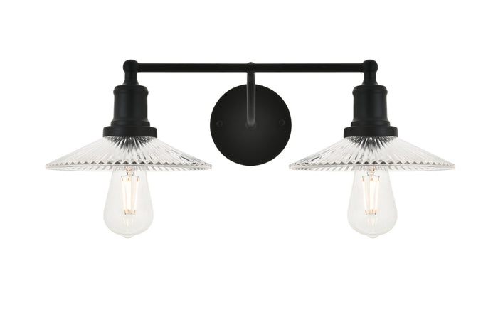 "Elegant Lighting Two Light Wall Sconce 20.60"" Black And Clear"
