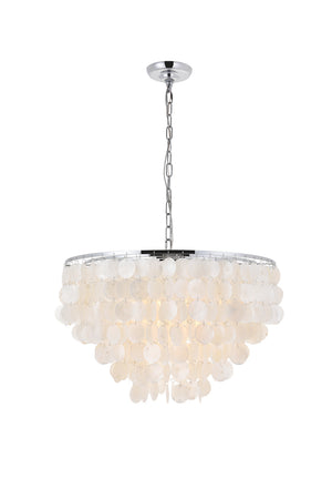 Elegant Lighting - LD5050D24C - Six Light Pendant - Selene - Chrome And White
